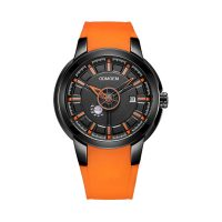 Orange strap men's private label watches